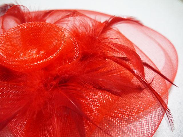 オーガンジー髪飾り スペイン製 カラー:赤