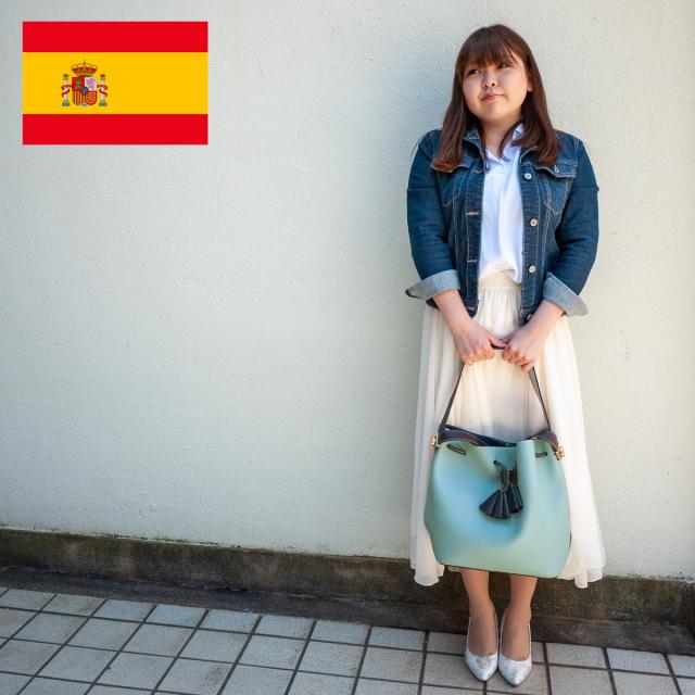 スペイン直送/タッセル付2wayバッグ(ポーチ付/ミントグリーン)